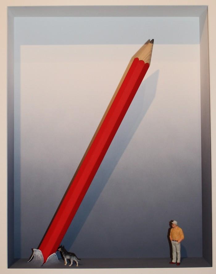 """""""Hommage a Claes Oldenburg"""", Objektkasten, 76 x 68 cm"""
