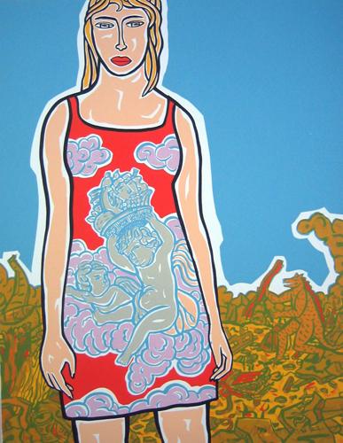 """""""Mädchen im Rokokokleid"""", Serigraphie, 100 x 70 cm"""