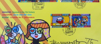 Romero Britto UNO stamps 1999, Envelope of 6 stamps with first edition dated