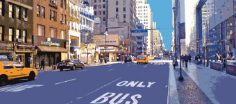 """NY Bus only"", Mixed Media on canvas, 90 x 130 cm"